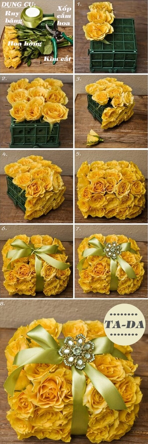 cách cắm hoa ngày 20-10